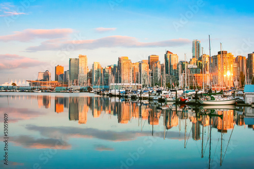 Vancouver skyline with harbor at sunset, BC, Canada