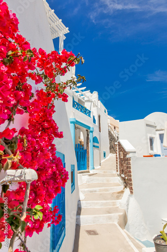 Staande foto Athene Greece Santorini island in Cyclades, traditional sights of color