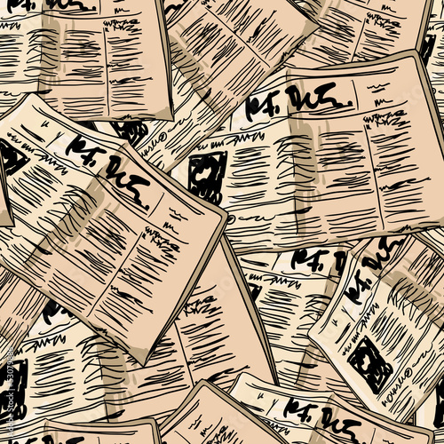 Deurstickers Kranten Newspaper vintage seamless background