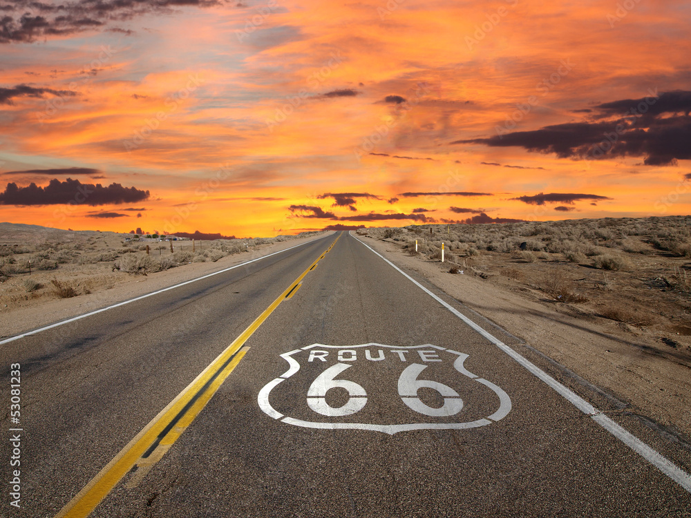 Fototapety, obrazy: Route 66 Pavement Sign Sunrise Mojave Desert