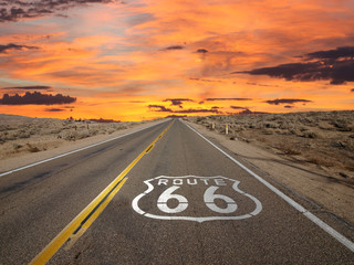Fototapeta Route 66 Pavement Sign Sunrise Mojave Desert