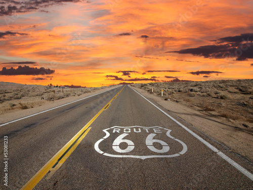 Deurstickers Route 66 Route 66 Pavement Sign Sunrise Mojave Desert