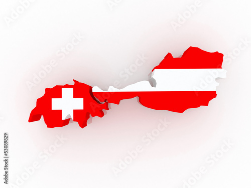 Fotografie, Obraz  Map of Austria and Switzerland