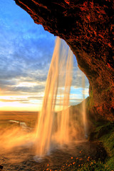 FototapetaSeljalandfoss waterfall at sunset, Iceland