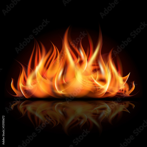 Fire on dark background. Poster Mural XXL