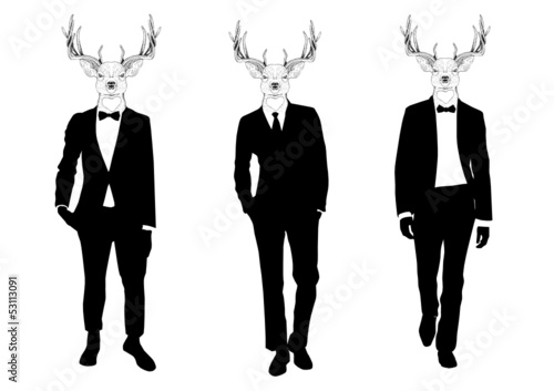 Three men with deer heads