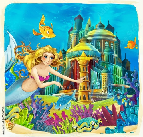 Fototapety, obrazy: The mermaid- castles - knights and fairies