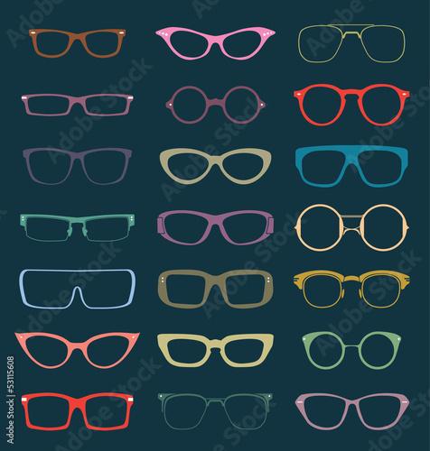 Fényképezés  Vector Set: Vintage Glasses Silhouettes