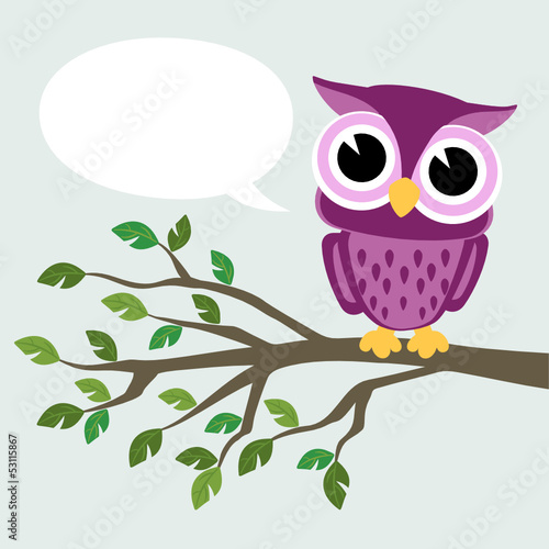 Poster Uilen cartoon cute baby owl sitting on a branch with text balloon