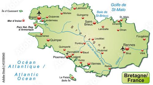 Freigestellte Karte Der Region Bretagne In Frankreich Buy This