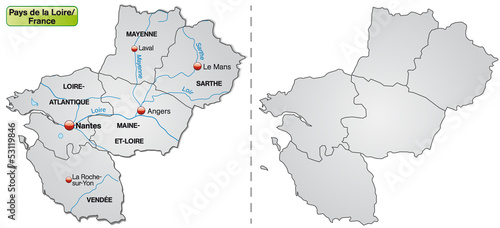Nantes Karte.Karte Der Region Payd De La Loire Mit Departements Buy This Stock