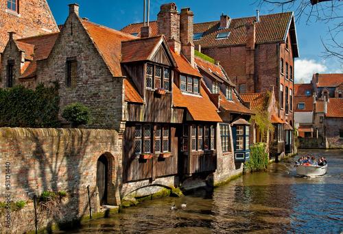 Foto op Canvas Brugge Houses along the canals of Brugge or Bruges, Belgium