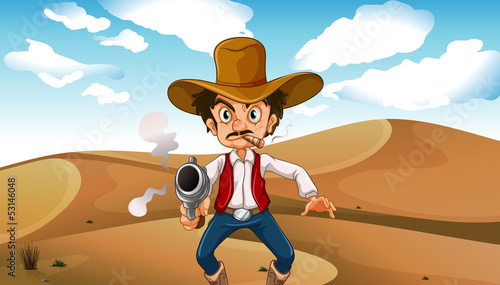 Poster Ouest sauvage A cowboy smoking with a gun at the desert