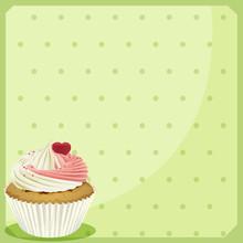 A Cupcake In A Green Wallpaper