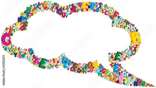 nuvoletta cartoon con alfabeto Canvas Print