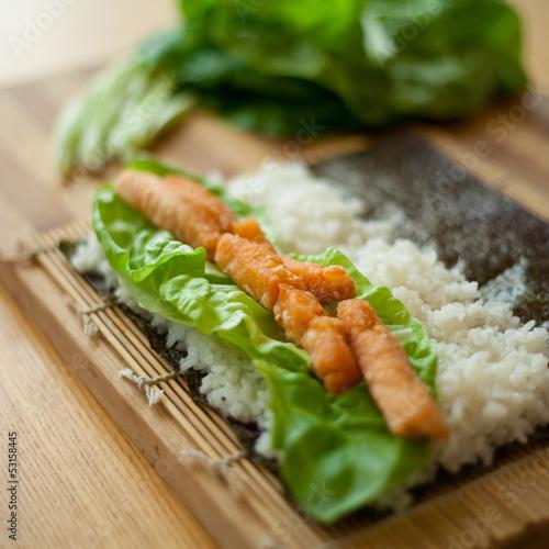 Fototapeta sushi składnik pieczony łosoś obraz