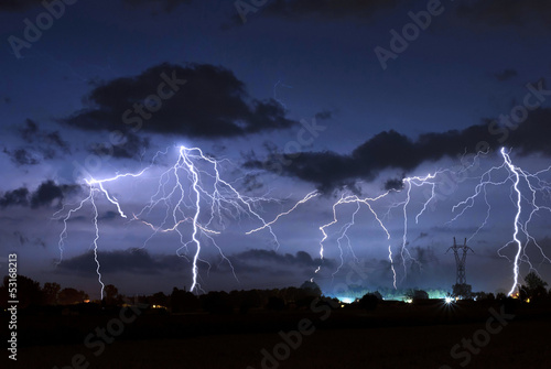 Foto op Canvas Onweer Thunderstorm
