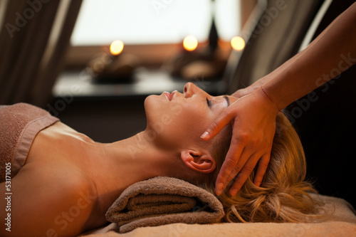 Fotografie, Obraz  Beautiful young woman enjoys massage