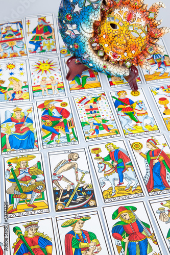 Tarot card reading with sun and moon (vertical)  - Buy this stock
