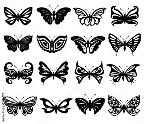 Photo sur Toile Papillons dans Grunge Set Of Black And White Butterflies