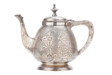 Retro Silver Teapot, Jug Isolated On White Background