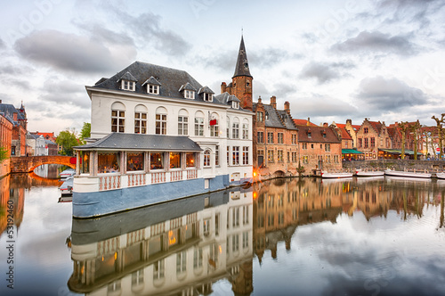 Wall Murals Bridges Dijver canal in Bruges, Belgium