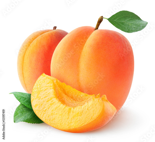 Isolated apricots. Two fresh apricot fruits isolated on white background