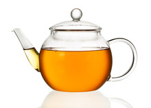 Teapot With Tea Isolated In Wh...