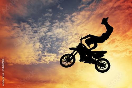 Poster Motocyclette Motocross silhouette