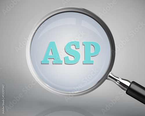 Magnifying glass showing asp word Wallpaper Mural