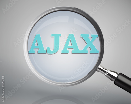 Photo Magnifying glass showing ajax word