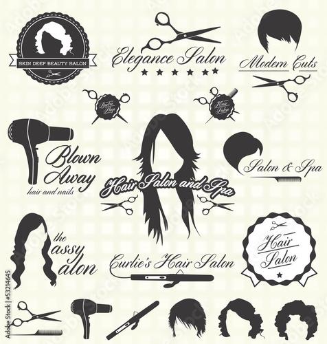 Fotografie, Obraz  Vector Set: Retro Hair Salon Labels and Icons