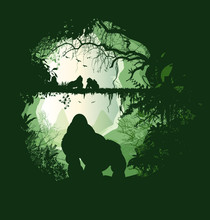 Gorille,signe,famille,pont,passage,chemin,jungle,forêt,zen