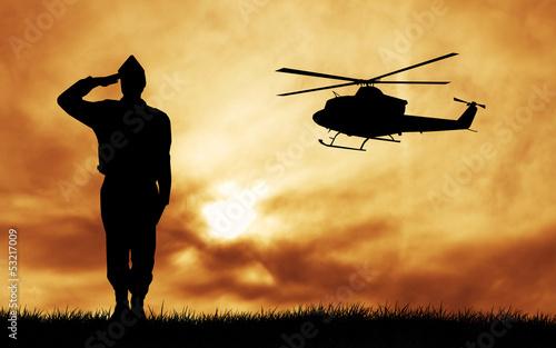Deurstickers Militair soldiers silhouette