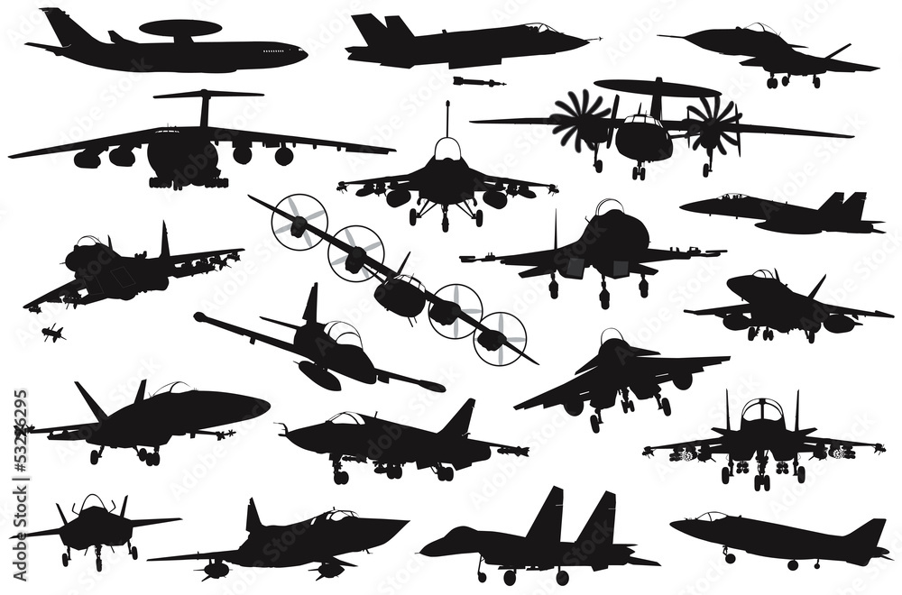 Military aircraft silhouettes collection. EPS 8 Canvas Print