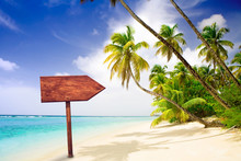 Empty Wooden Signpost At Tropical Beach