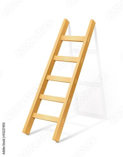 Obraz na plátně wooden step ladder vector illustration isolated on white