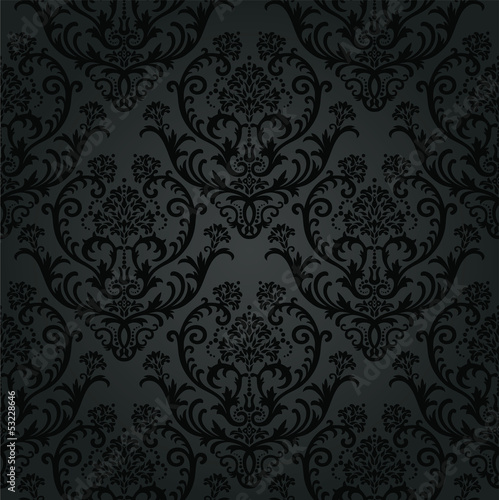 Fotografie, Obraz  Luxury black charcoal floral wallpaper pattern