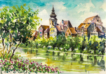 FototapetaSpring in small city on the river.Watercolors.