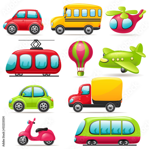 Keuken foto achterwand Cartoon cars Cartoon transport set