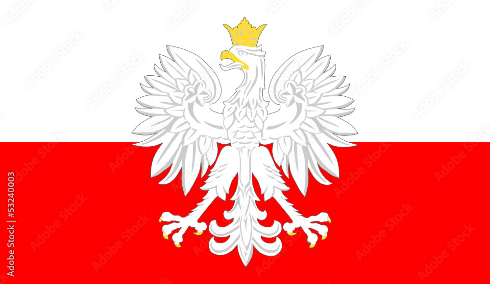 Fototapeta godło polski i flaga