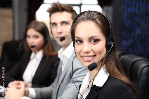 Fototapety, obrazy: Call center operators at work.