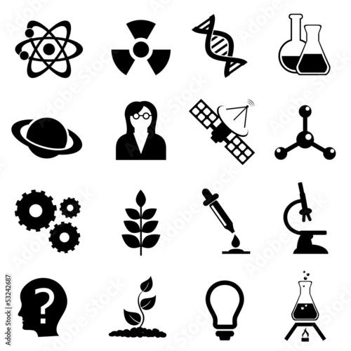 Fotografie, Obraz  Science, biology, physics and chemistry icon set