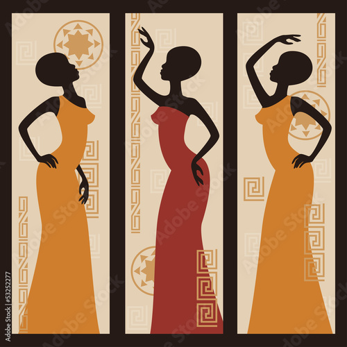 Vector picture of African American woman. Triptych. Wall mural