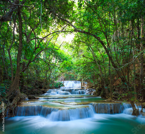 Spoed Foto op Canvas Grijze traf. Deep forest Waterfall in Kanchanaburi, Thailand