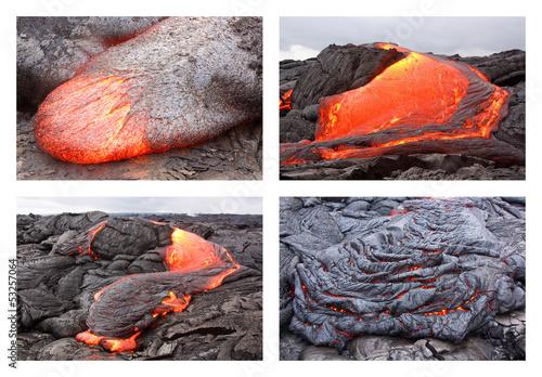 Staande foto Vulkaan Lava flow in various forms