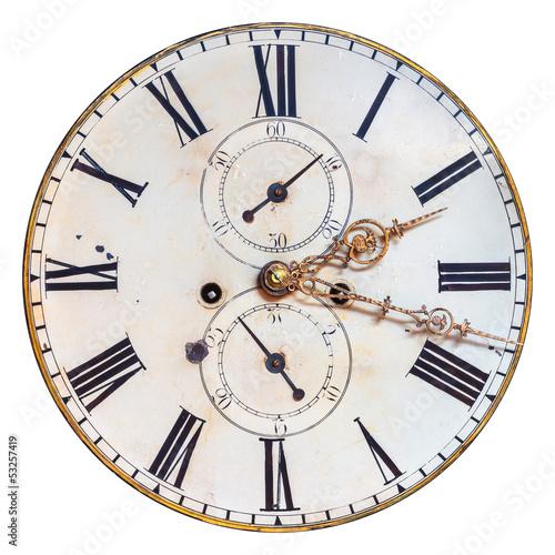 Fototapeta Ancient ornamental clock face isolated on white obraz