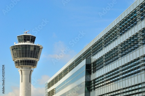Deurstickers Luchthaven Control tower at Munich Airport, Germany