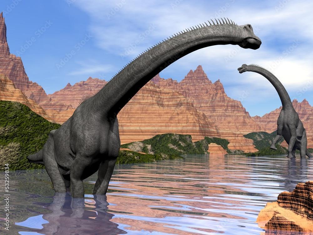 Foto-Schiebevorhang (ohne Schiene) - Brachiosaurus dinosaurs in water - 3D render