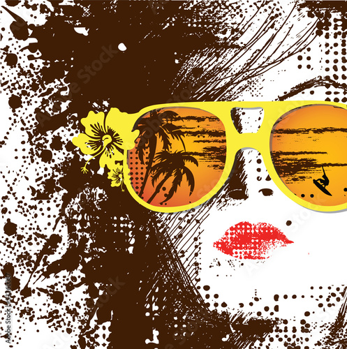 Printed kitchen splashbacks Woman face Women in sunglasses